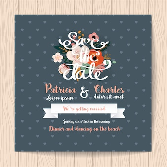 Wedding invitation with ribbon and hearts background