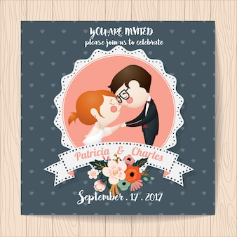 Wedding invitation with romantic characters