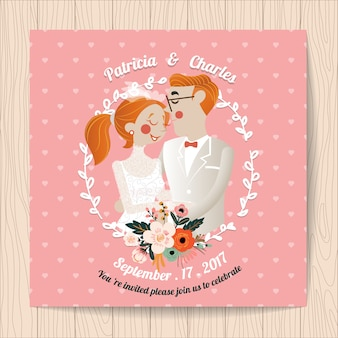 Wedding invitation with romantic couple character