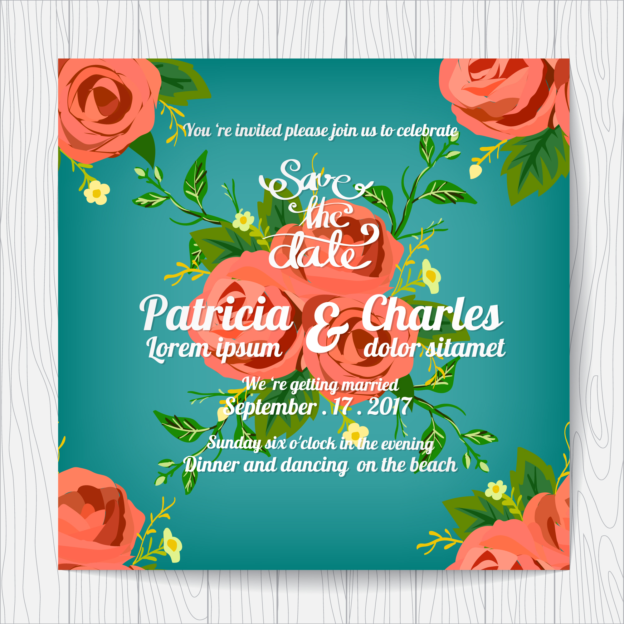 Wedding invitation with roses design and blue backgroun