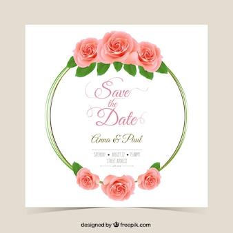 Wedding invitation with roses