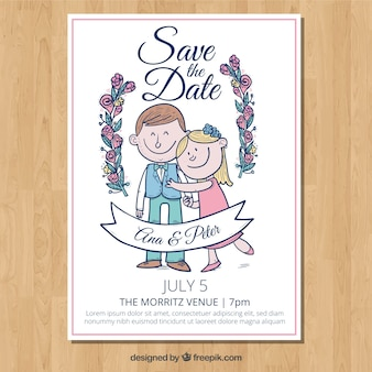 Wedding invitation with smiley couple