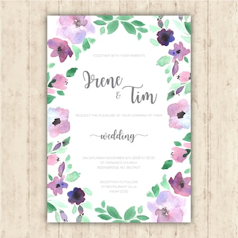 Wedding invitation with tender hand painted flowers