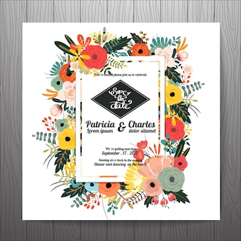 Wedding invitation with tropical flowers frame