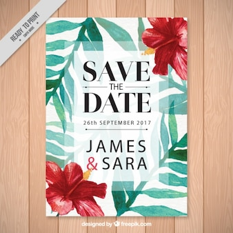 Wedding invitation with tropical flowers