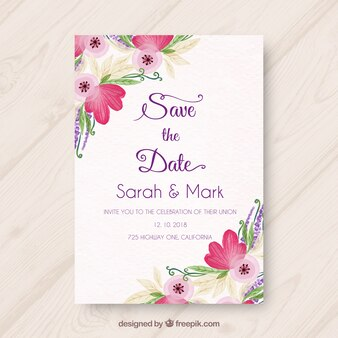 Wedding invitation with variety of watercolor flowers