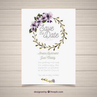 Wedding invitation with watercolor circular frame