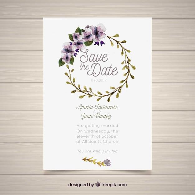 Wedding Invitation With Watercolor Circular Frame