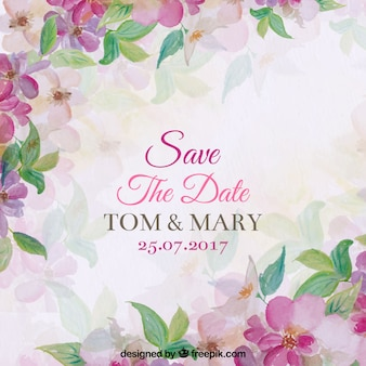 Wedding invitation with watercolor flowers