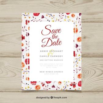 水彩画の結婚式招待状