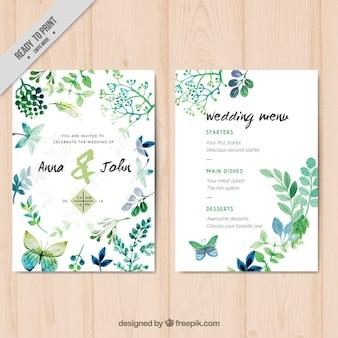 水彩画の葉や蝶との結婚式の招待状