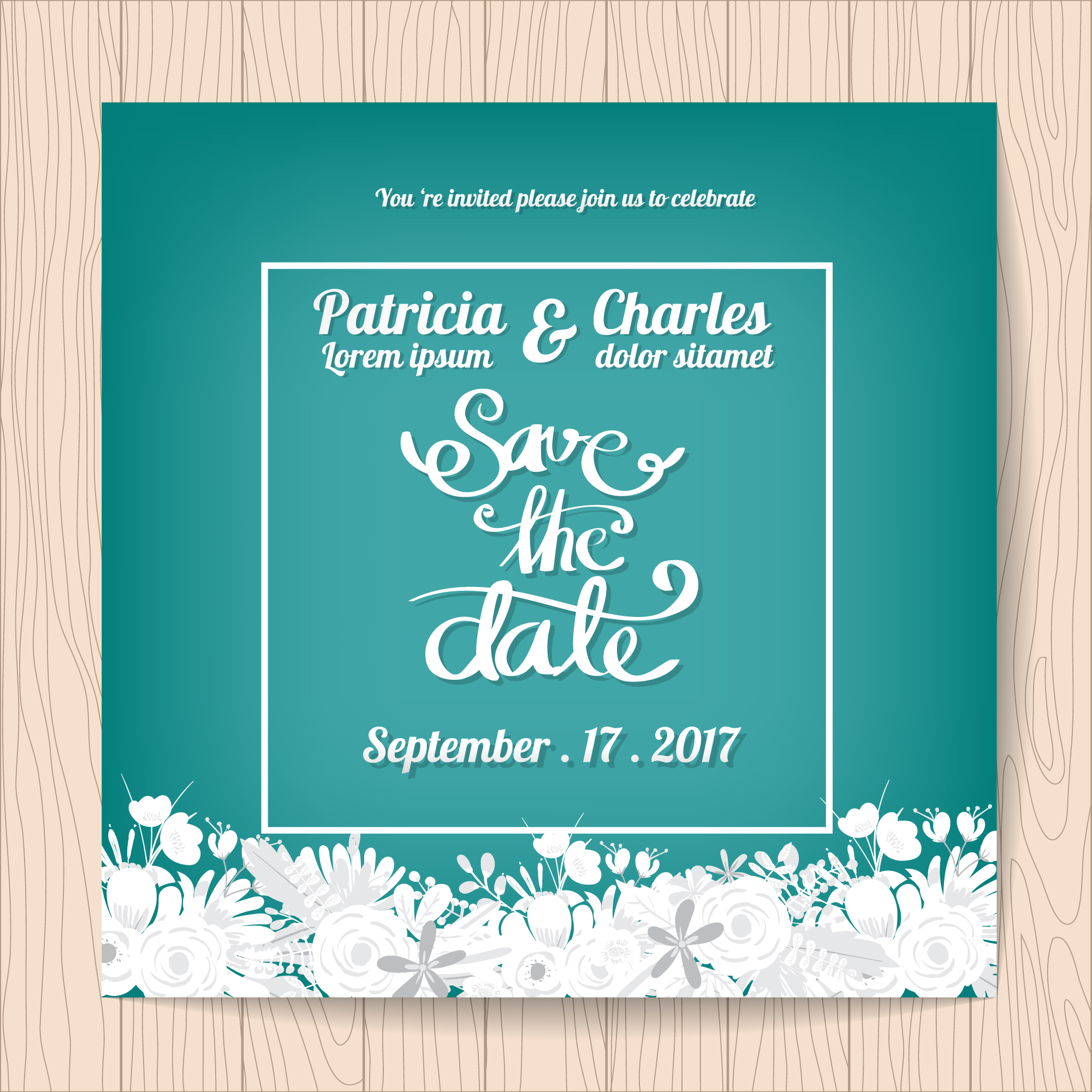 Wedding invitation with white flowers