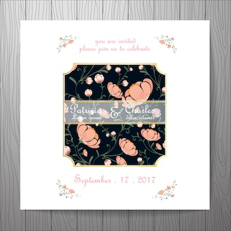 Wedding invitation with white frame