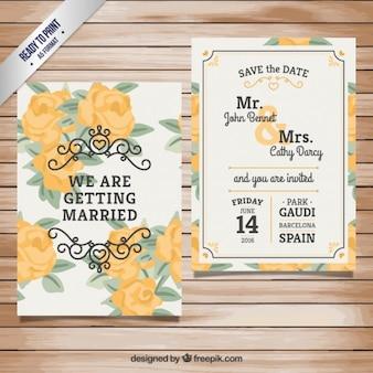 Wedding invitation with yellow roses