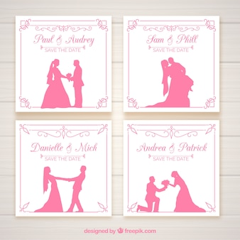 Wedding invitations with pink silhouettes