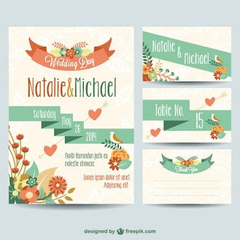 Wedding invitations with ribbon and flowers