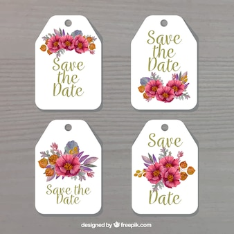Wedding label collection with flowers