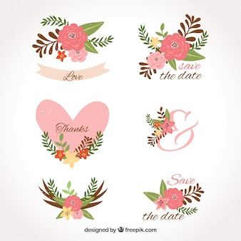 Wedding labels with flowers and hearts