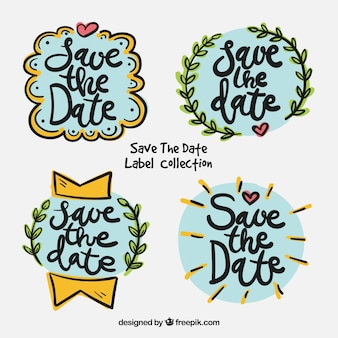 Wedding labels with hand drawn style