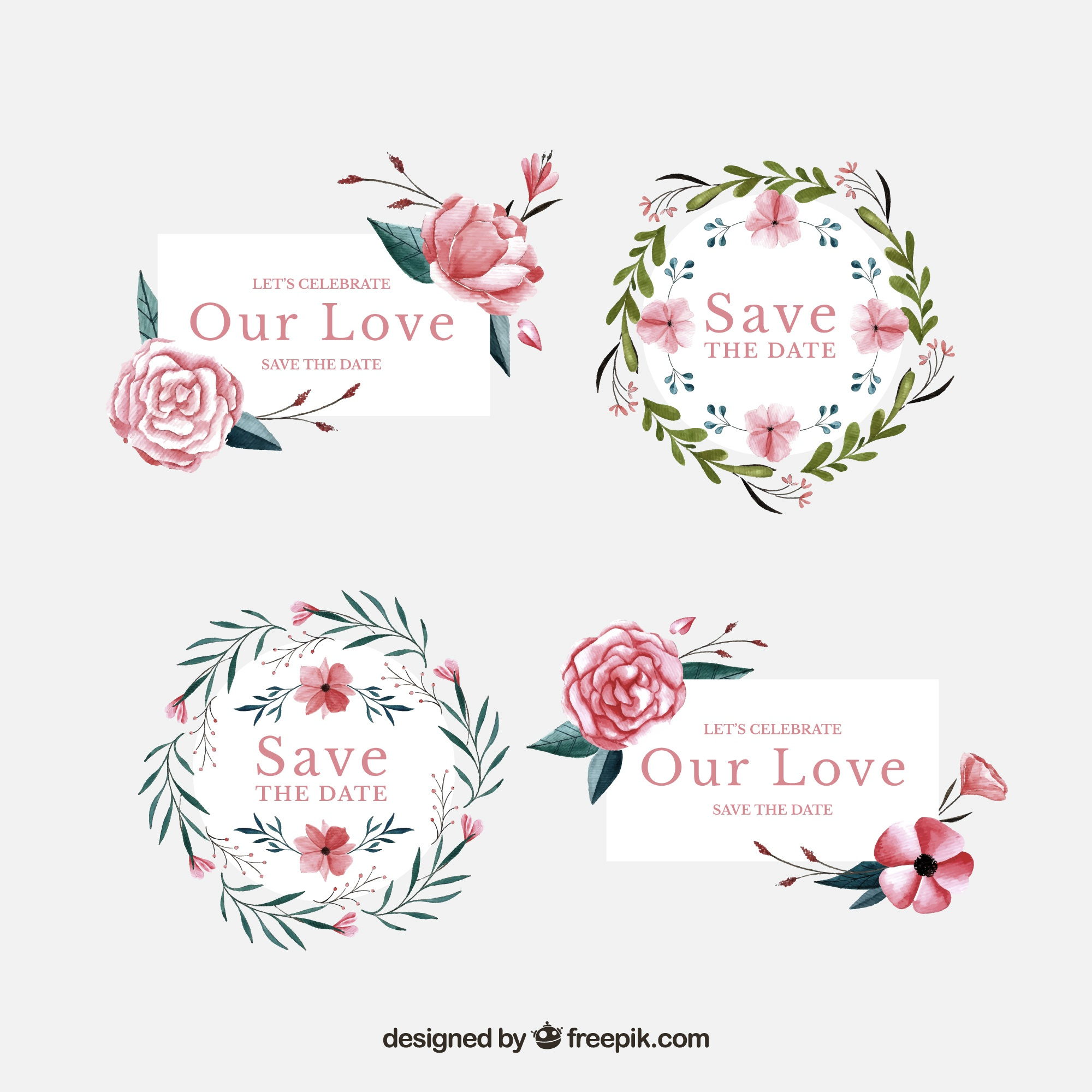 Wedding labels with watercolor flowers