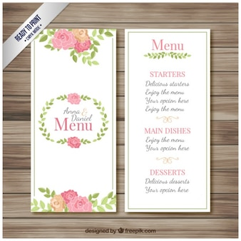 Wedding menu brochure
