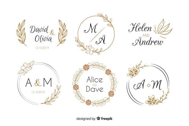 Wedding monogram logos template collection