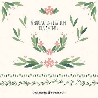 Wedding ornaments of leaves and flowers