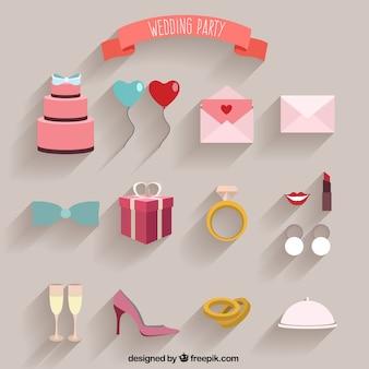 Wedding Party Flat Elements
