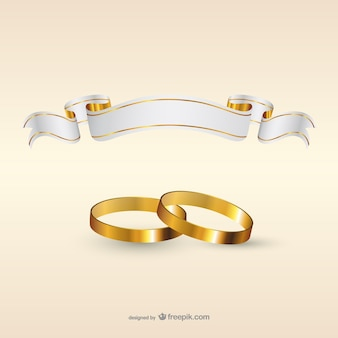Wedding rings and ribbon flag