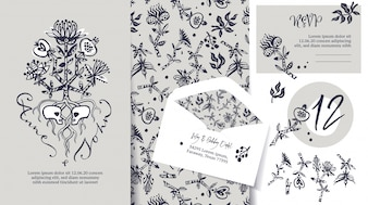 Wedding stationary set. Tree of life. Lovers sculls.