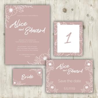 結婚式の文房具は、汚れたピンクの色で設定