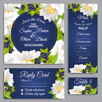 Wedding stationery with floral desig