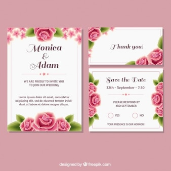 Wedding stationery with roses