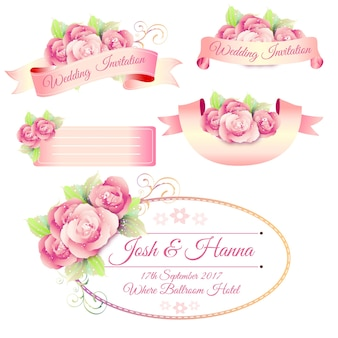 Wedding sticker with rose