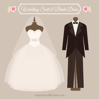 Wedding suit and dress