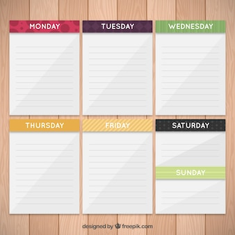 Weekly planner in paper notes
