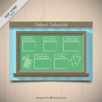 Weekly schedule with chalkboard background