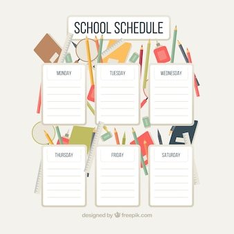 Weekly schedule with colorful school supplies