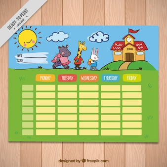 Weekly schedule with nice animals for elementary students