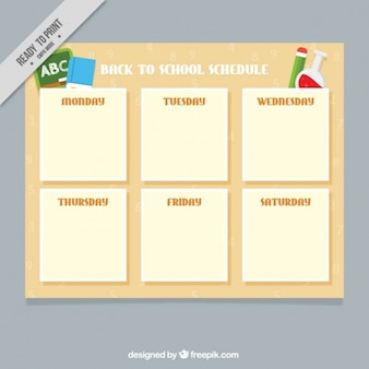 Weekly timetable for back to school