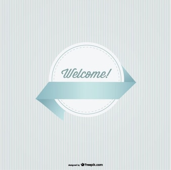 Welcome Round Badge with Ribbon Retro Style