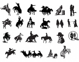 Western cowboys country icon silhouettes