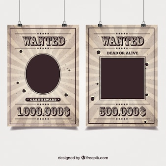 Western posters of a wanted bandit