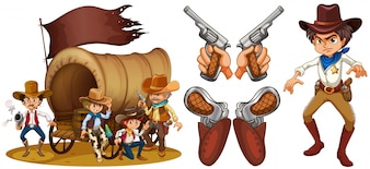 Western set with cowboy and guns illustration