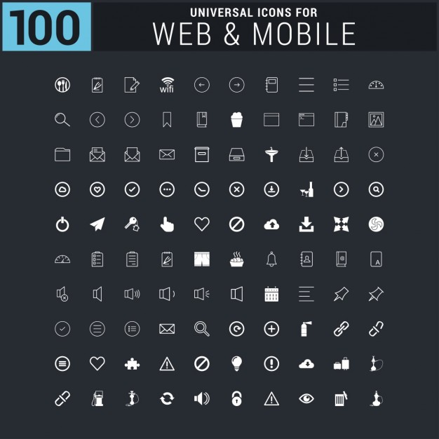 White 100 universal web icons collection