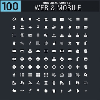White 100 universal web icons set
