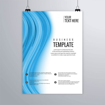 White and blue brochure with wavy shapes