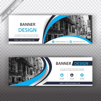 White and blue business banner