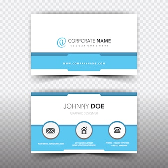 White and blue business card