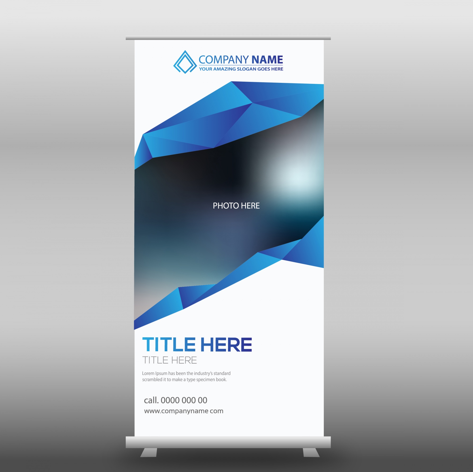 White and blue business roll up